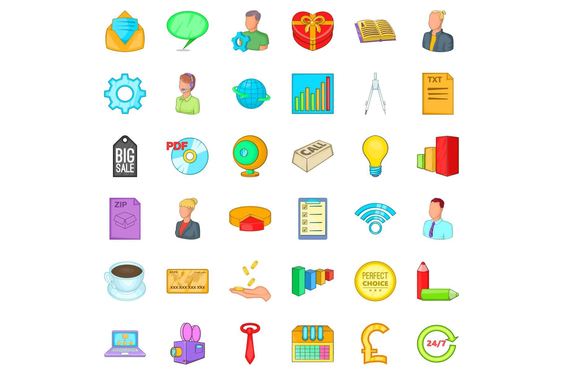 Internet marketing icons set, cartoon style example image 1