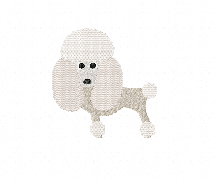 POODLE Embroidery Design in 2 sizes example image 1