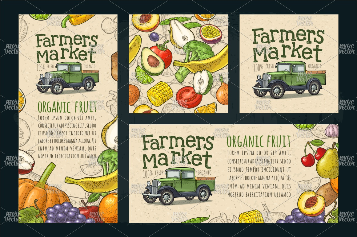 Farmers market. Set vegetables and fruits. Vector engraving example image 2