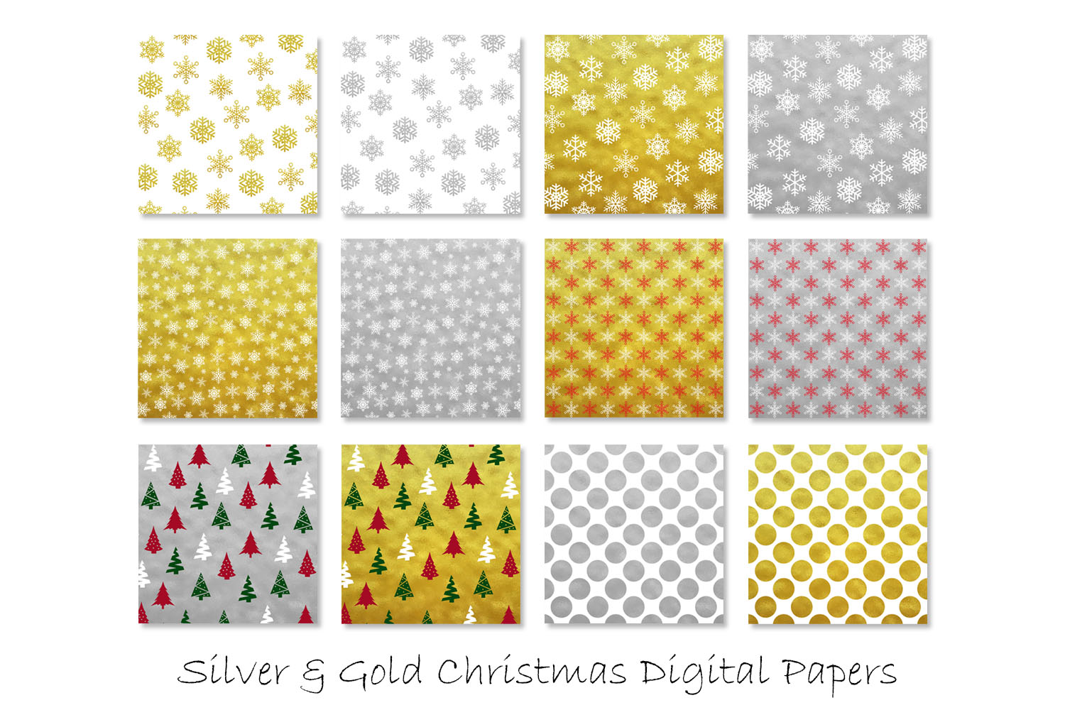 Gold & Silver Christmas Digital Paper - Snow Backgrounds example image 2