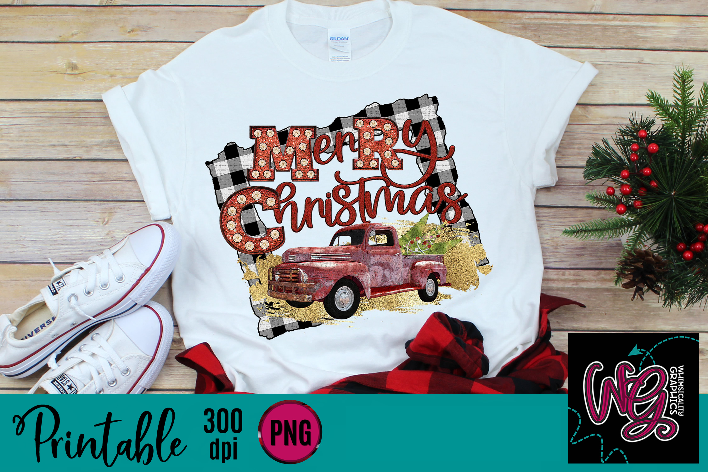 Merry Christmas Truck Plaid Sublimation Printable example image 1