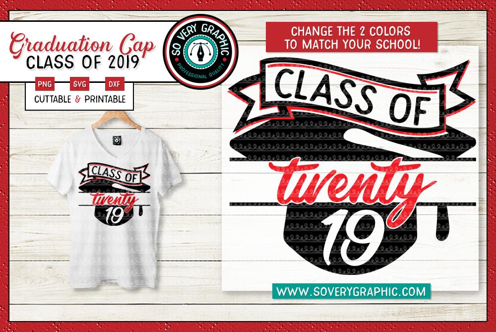 Class of 2019 Graduation Cap SVG Cut File example image 1