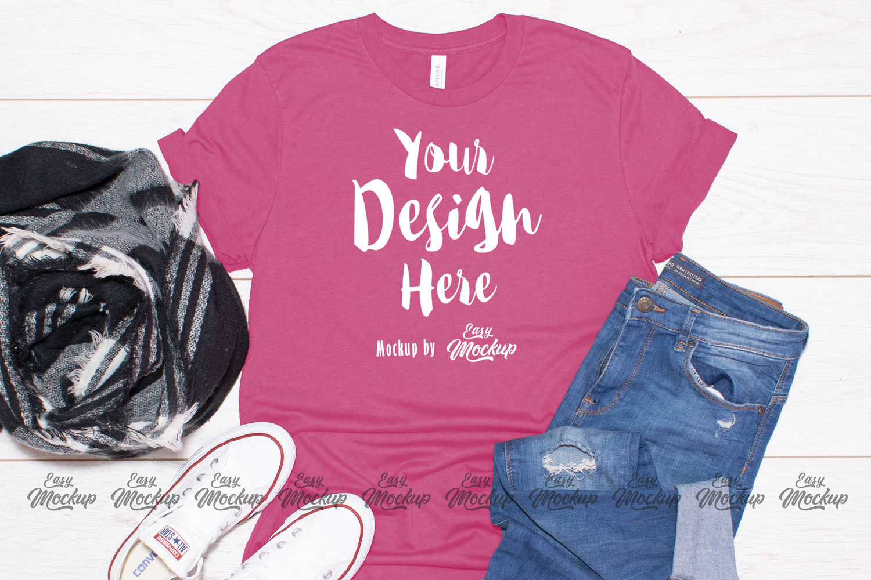 Heather Raspberry Bella Canvas 3001 T Shirt Mockup example image 1
