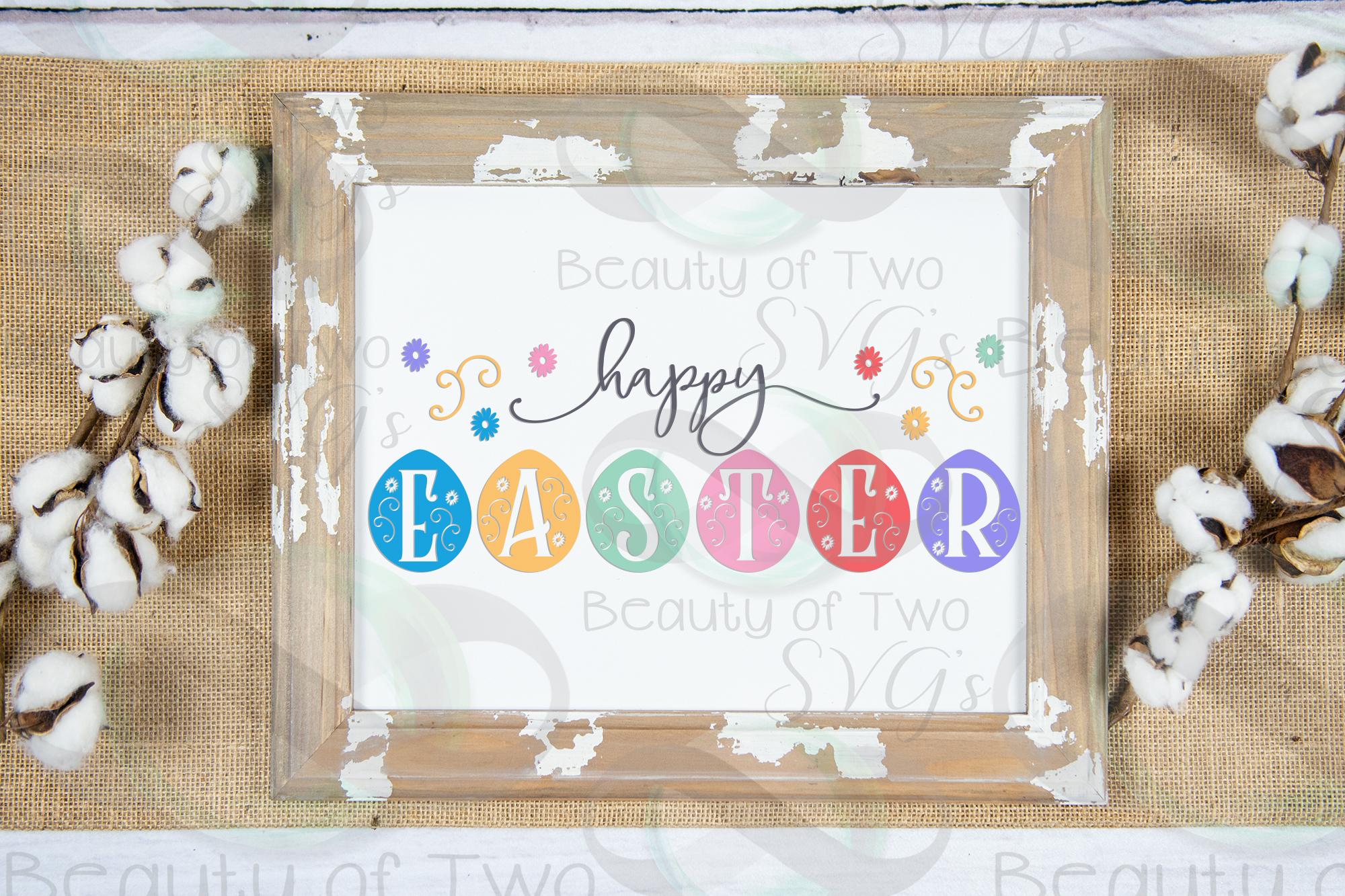 Happy Easter svg, Eggs svg, Farmhouse Easter svg, Easter svg example image 2