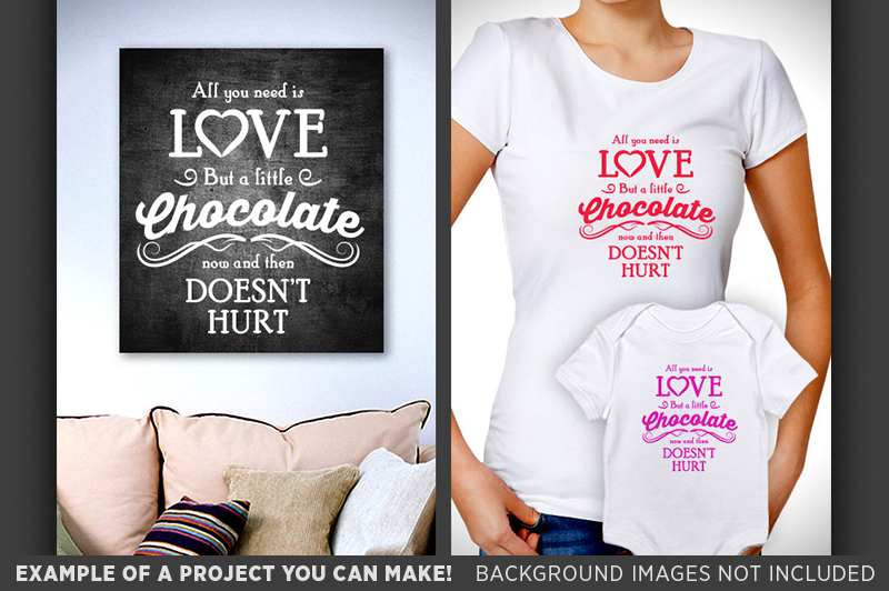 All You Need Is Love & Chocolate Sign SVG - Valentine - 1503 example image 3