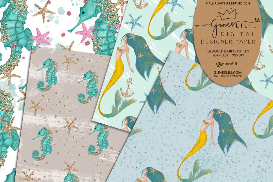 Blue Mermaid Digital Paper Pattern Summer Fashion Seamless example image 2