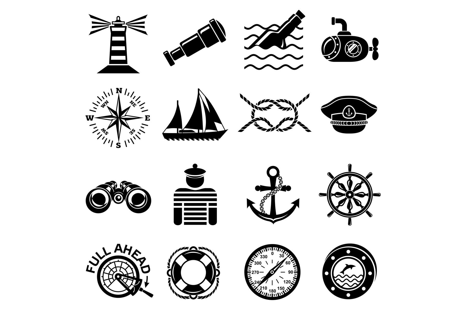 Nautical icons set, simple style example image 1