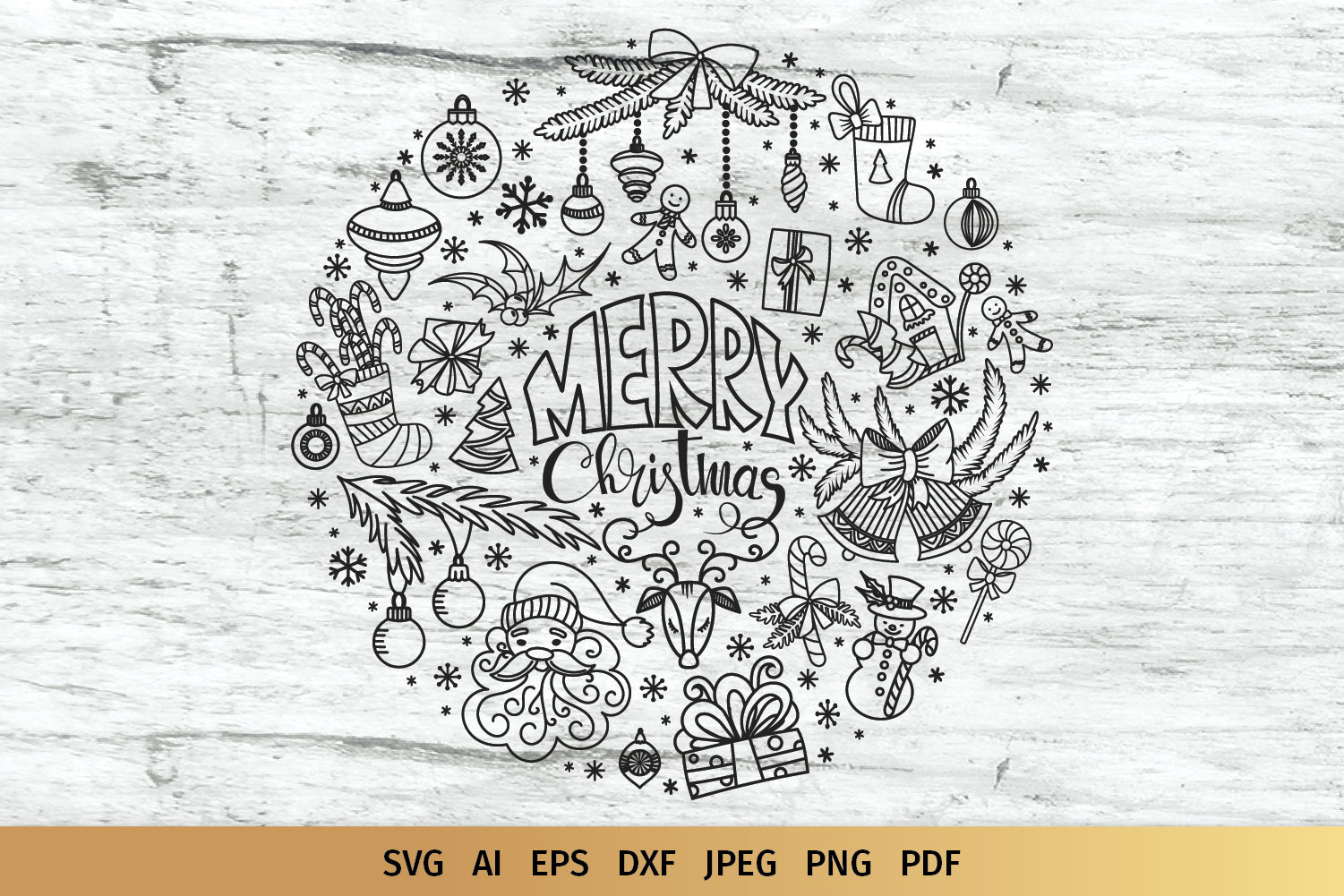 Christmas Doodles SVG example image 1