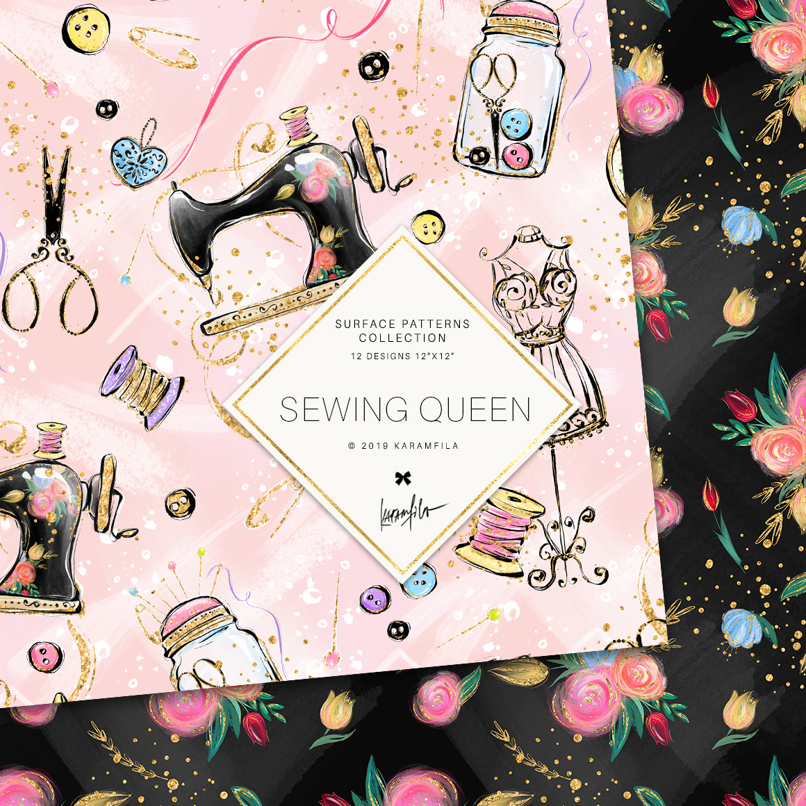 Sewing Girl Digital Paper example image 5