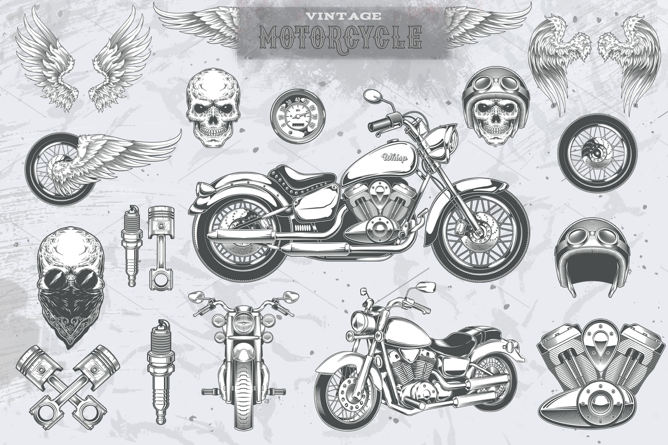 Vintage motorcycle, skulls and labels example image 2