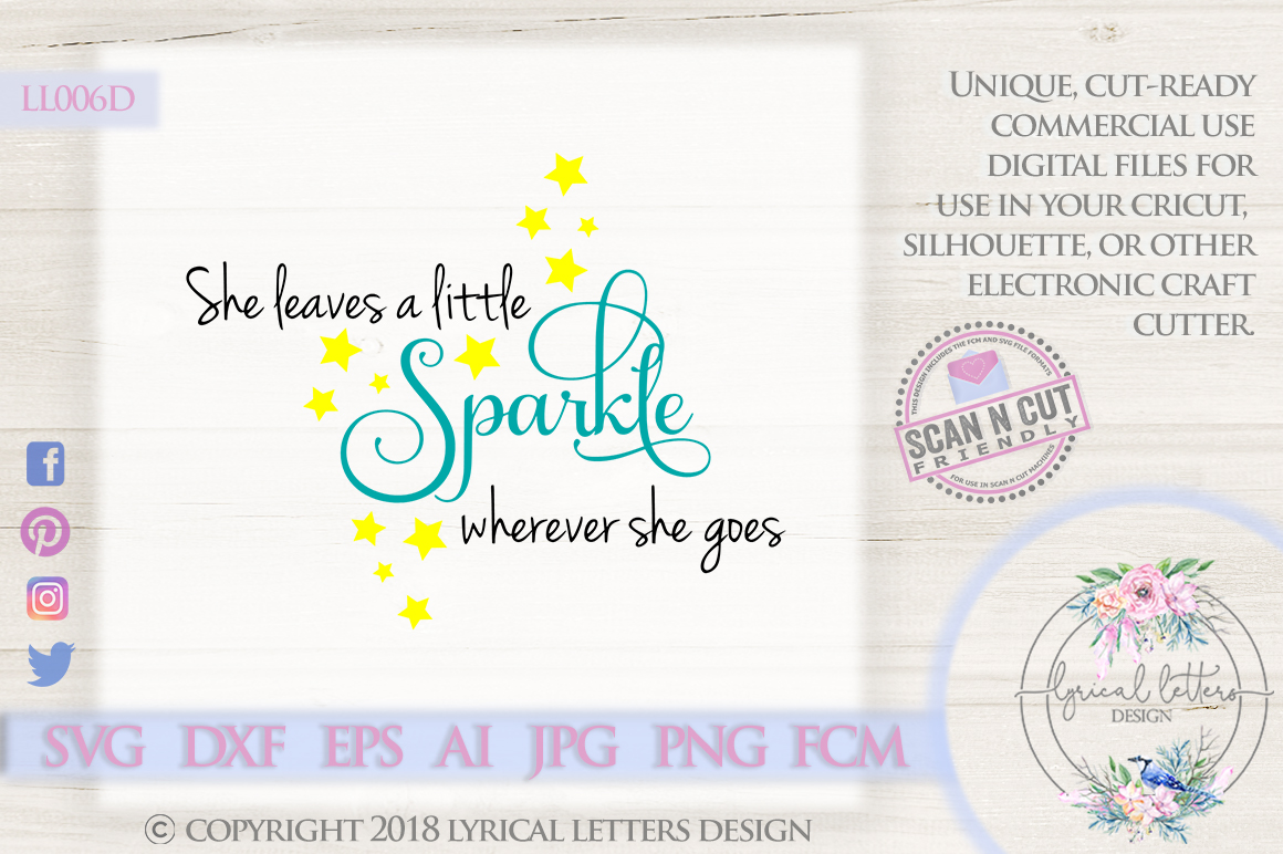 She Leaves a Little Sparkle SVG DXF Cut File LL006D example image 1