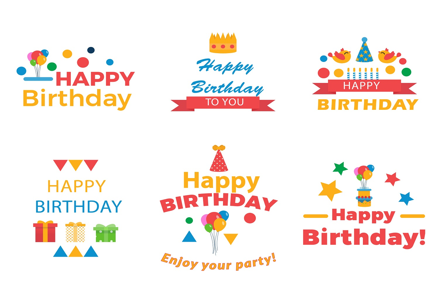 Its a birthday party vector illustration pack example image 2