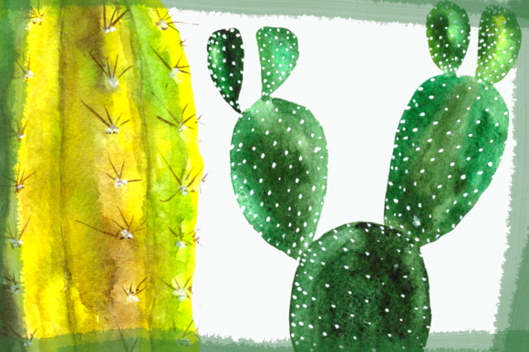 Watercolor Cactuses Clip Art Set example image 5