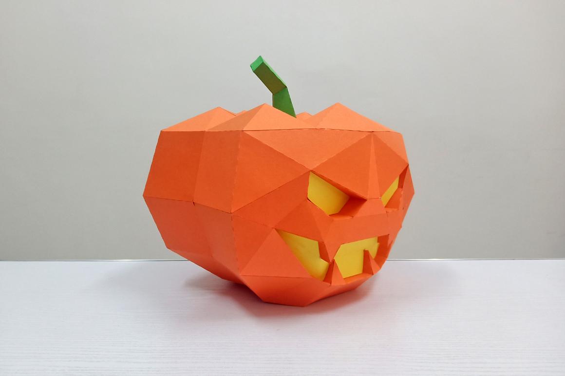 DIY Halloween Pumpkin lamp - 3d papercraft example image 4