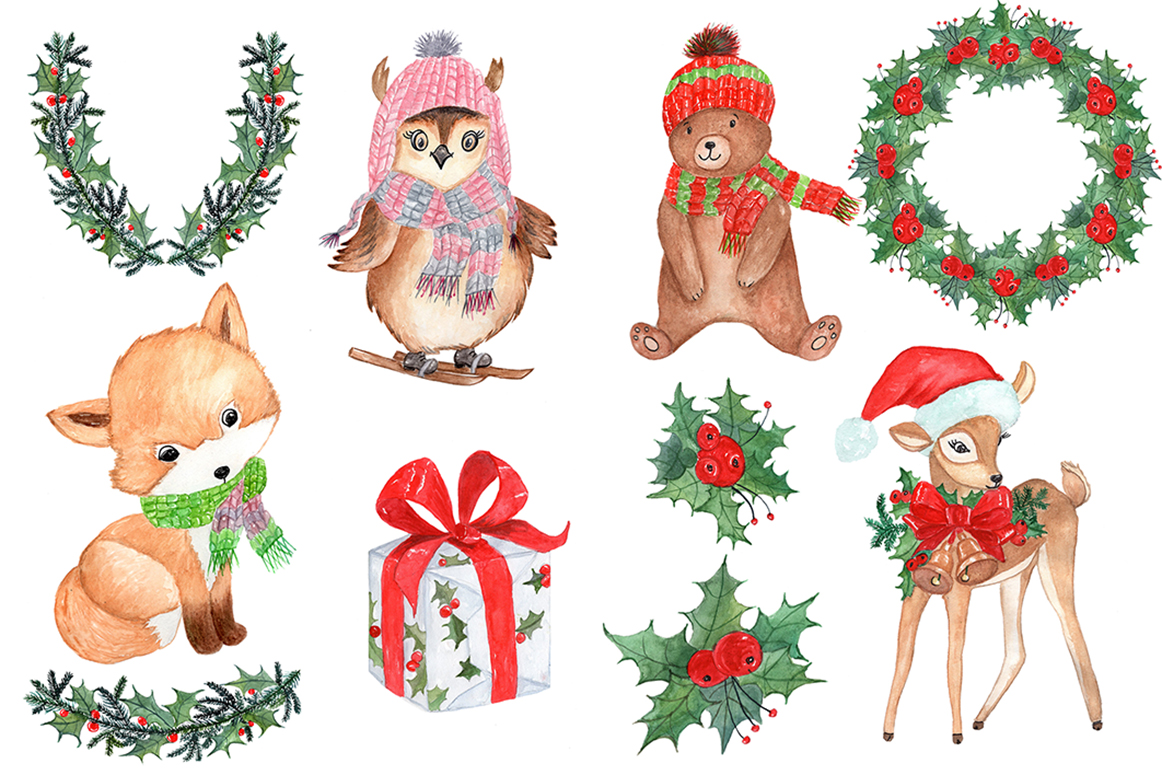 Watercolor Christmas kids clipart example image 3