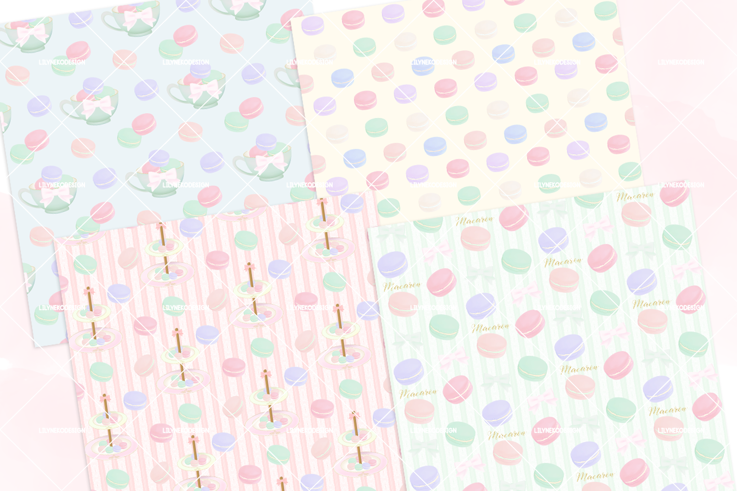 Macaron Afternoon Tea party Pattern Digital Papers example image 4