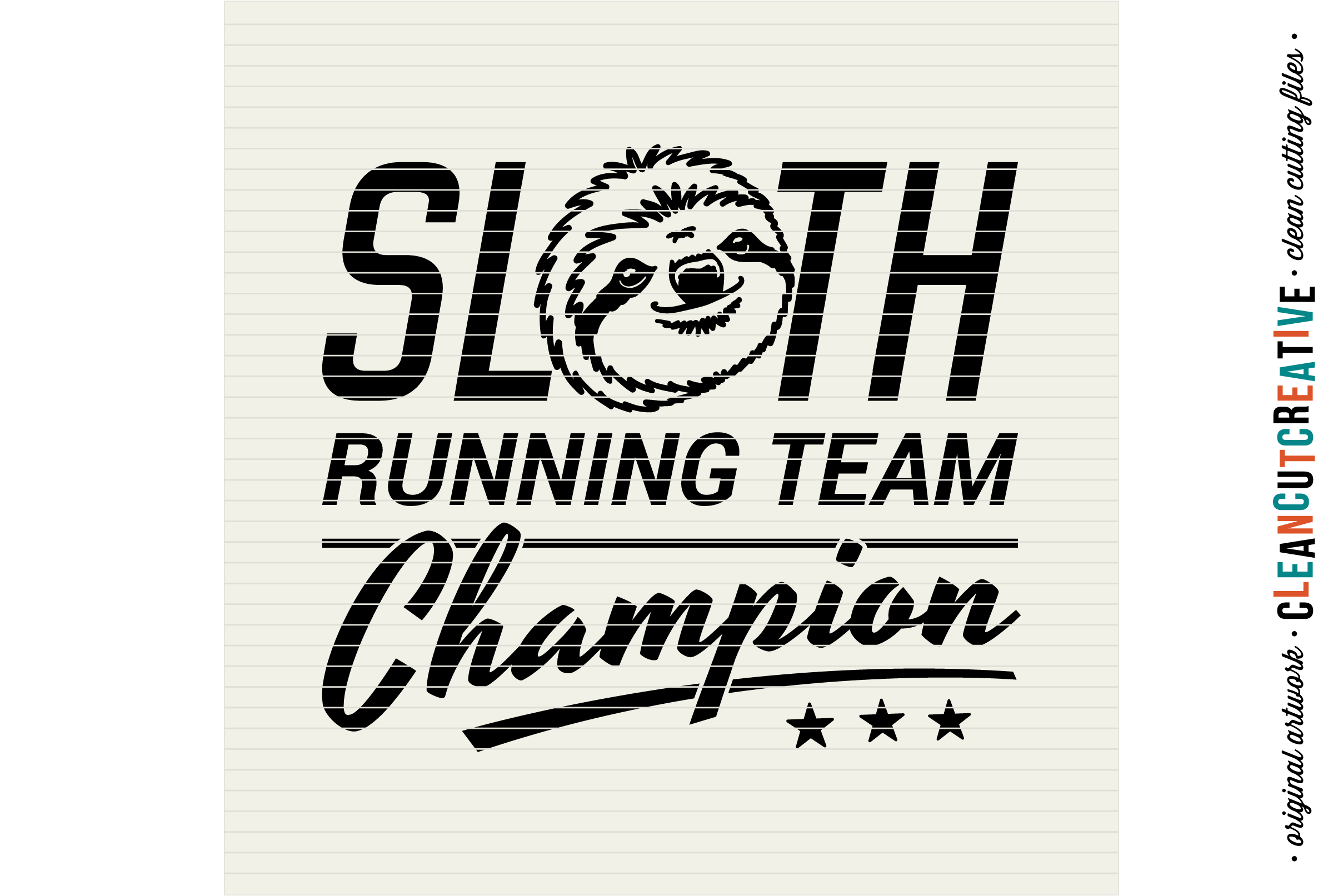 SLOTH RUNNING TEAM CHAMPION! - funny t-shirt design - SVG DXF EPS PNG - Cricut & Silhouette - clean cutting files example image 3