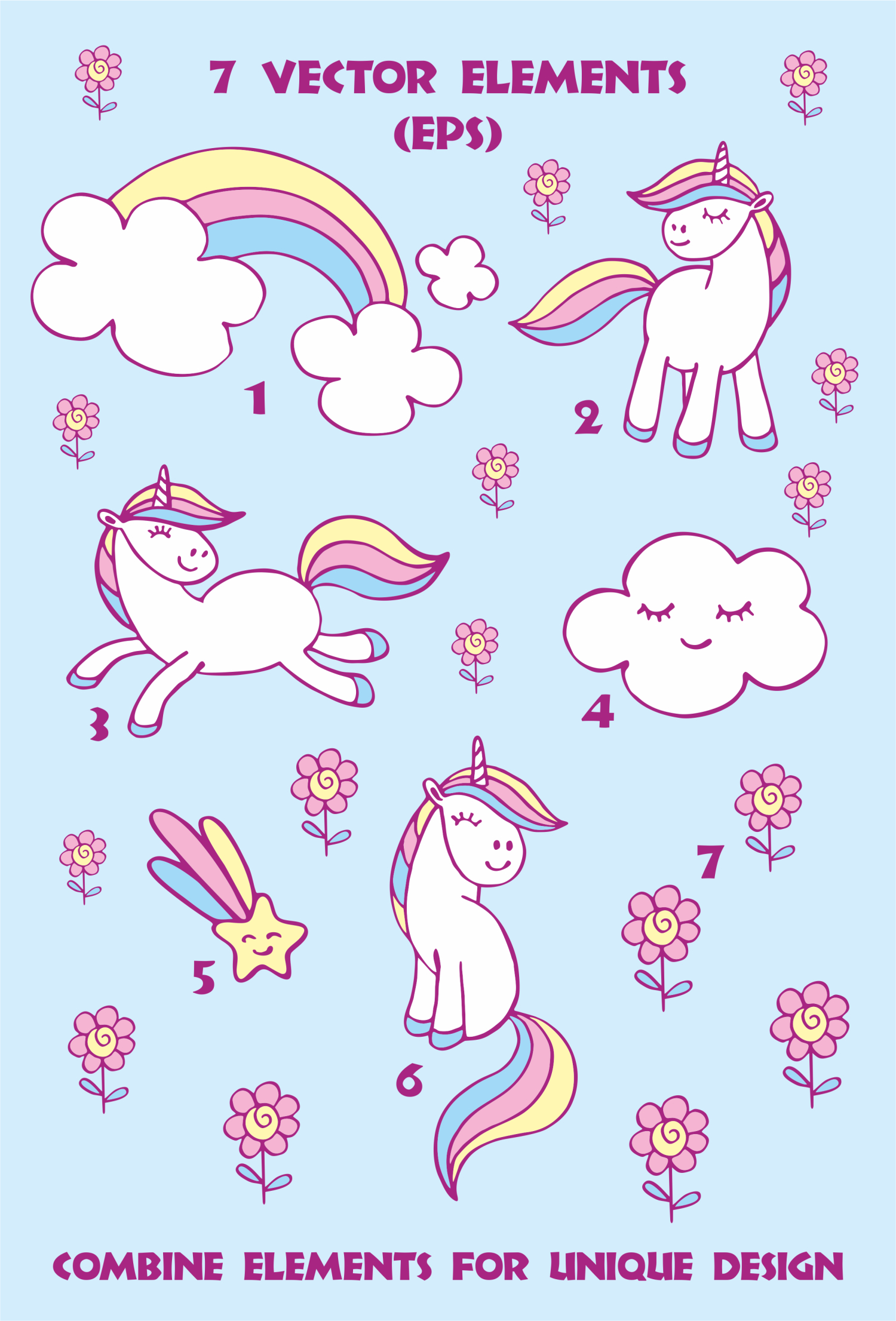 Cute unicorns. Vector elements and patterns. example image 4