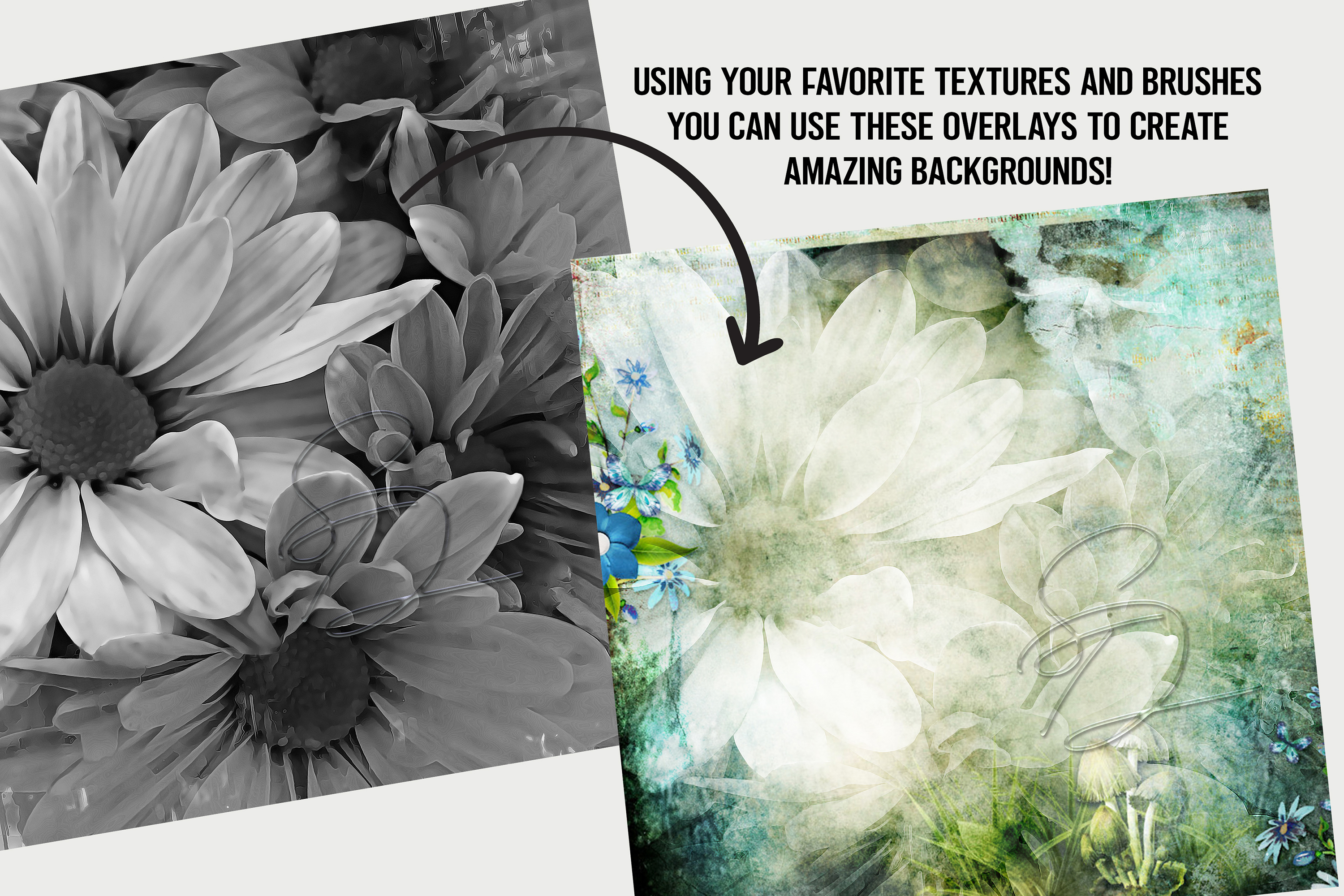Painted Flowers Texture Overlays example image 2