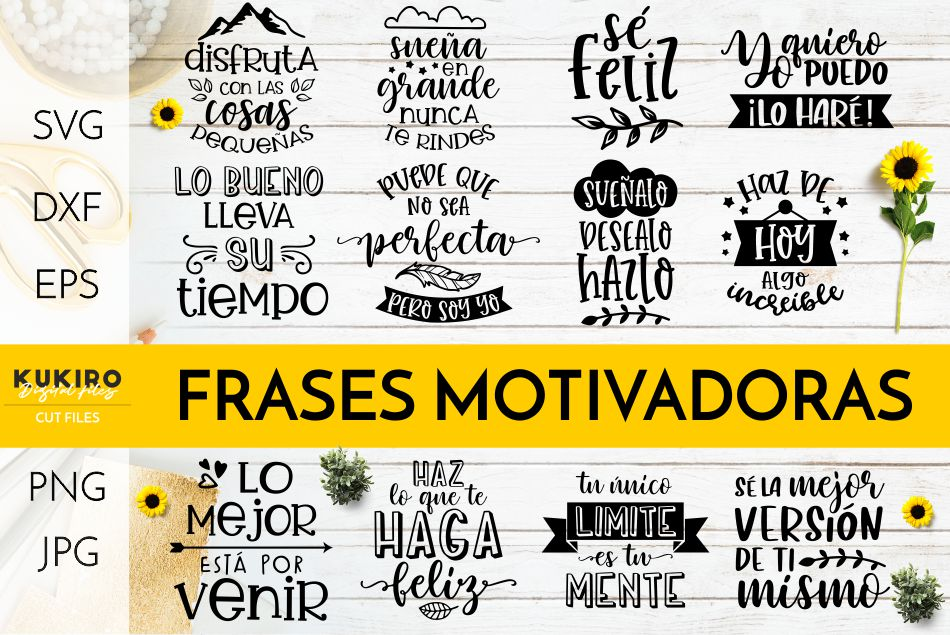 Frases Motivadoras Svg Bundle Inspirational Cut Files