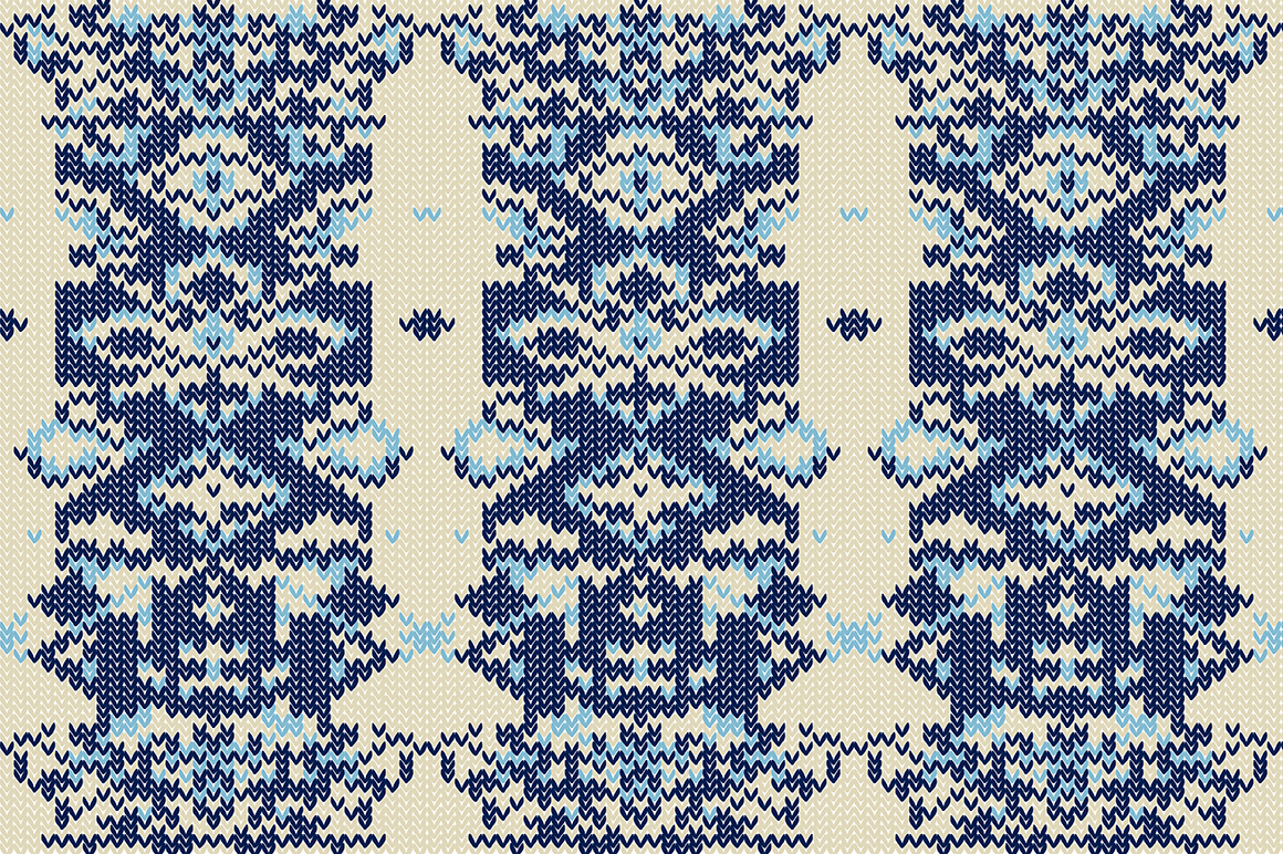 Christmas wool seamless pattern set. example image 3