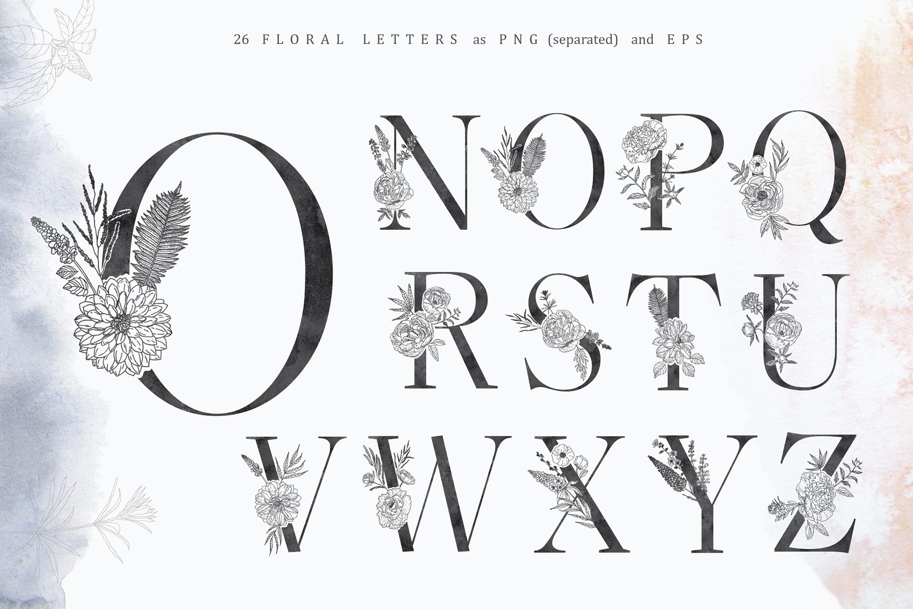 Floral Alphabets Collection. example image 15