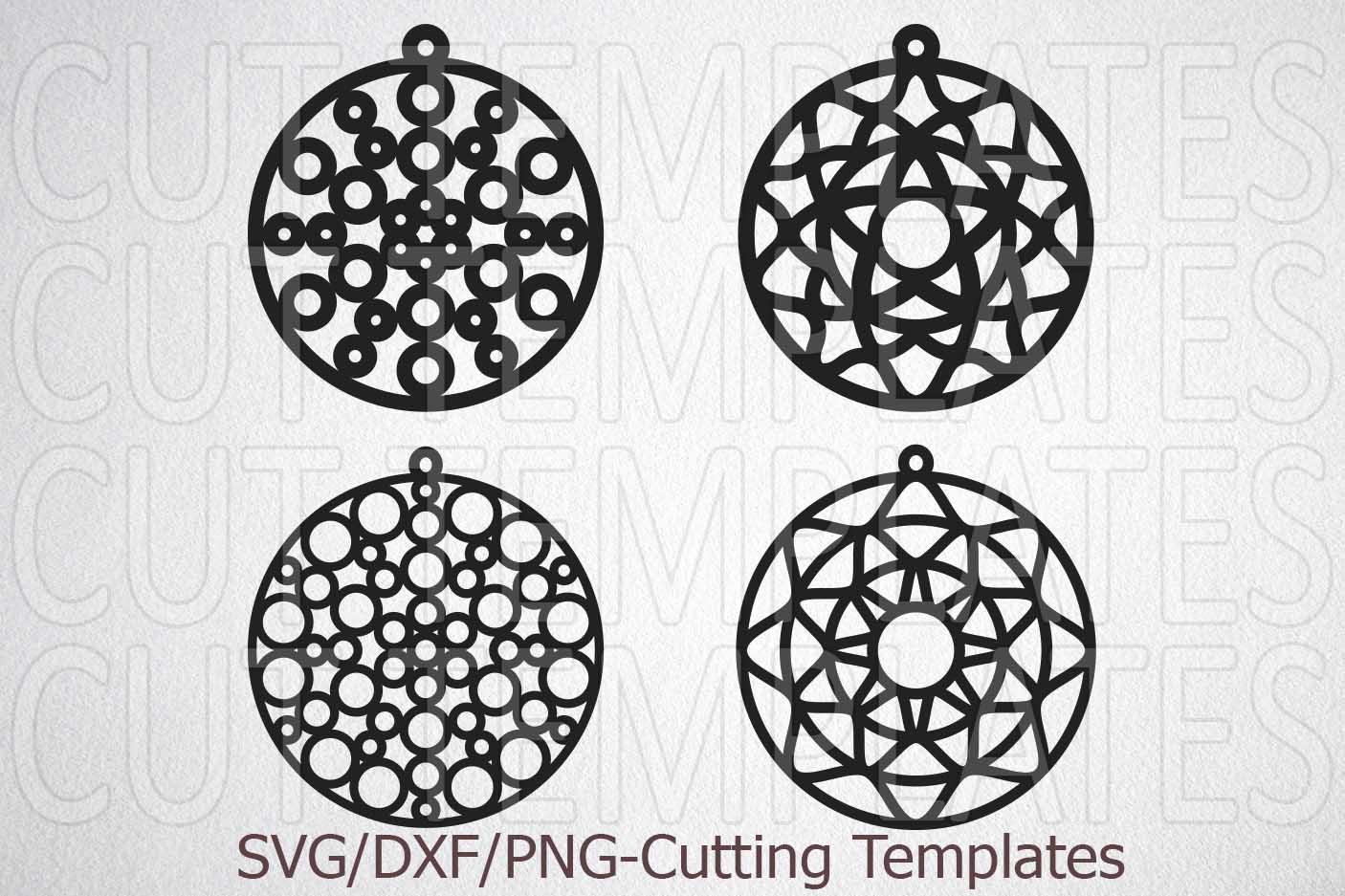 Mandala earrings bundle templates laser cut wood leather svg