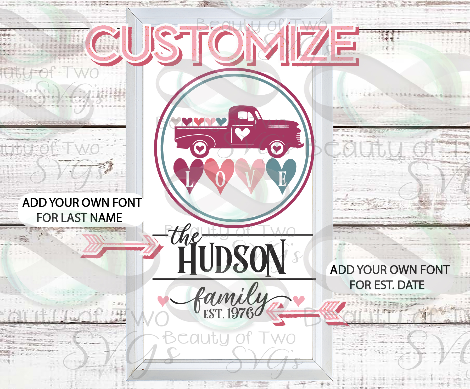 Valentines Vintage Truck Last Name Customize svg sign design example image 2