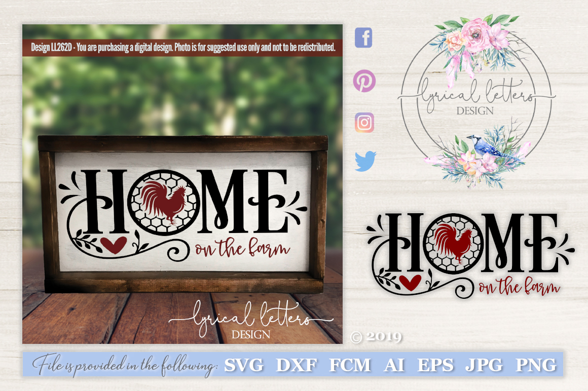 Farmhouse Home on the Farm with Rooster SVG DXF LL262D example image 1