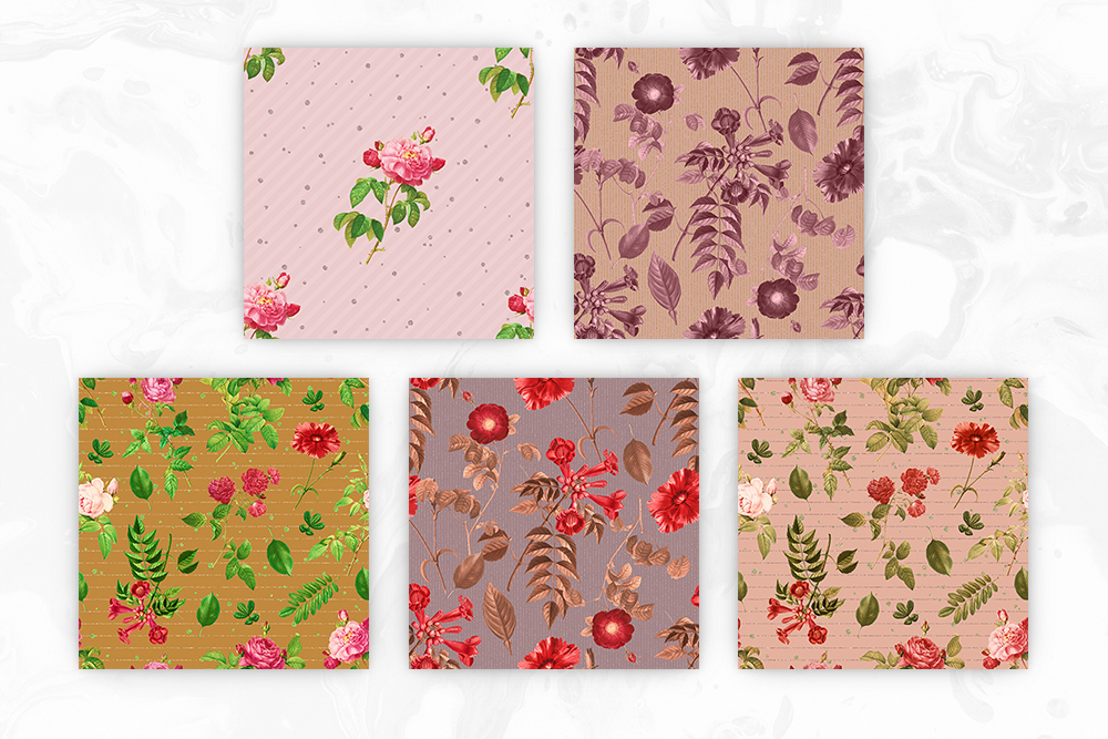 Tileable Beige Backgrounds With Vintage Flower Illustrations example image 3
