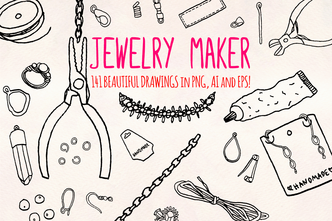 40 Jewelry and Craft Making Hand Drawn Graphics Bundle example image 1