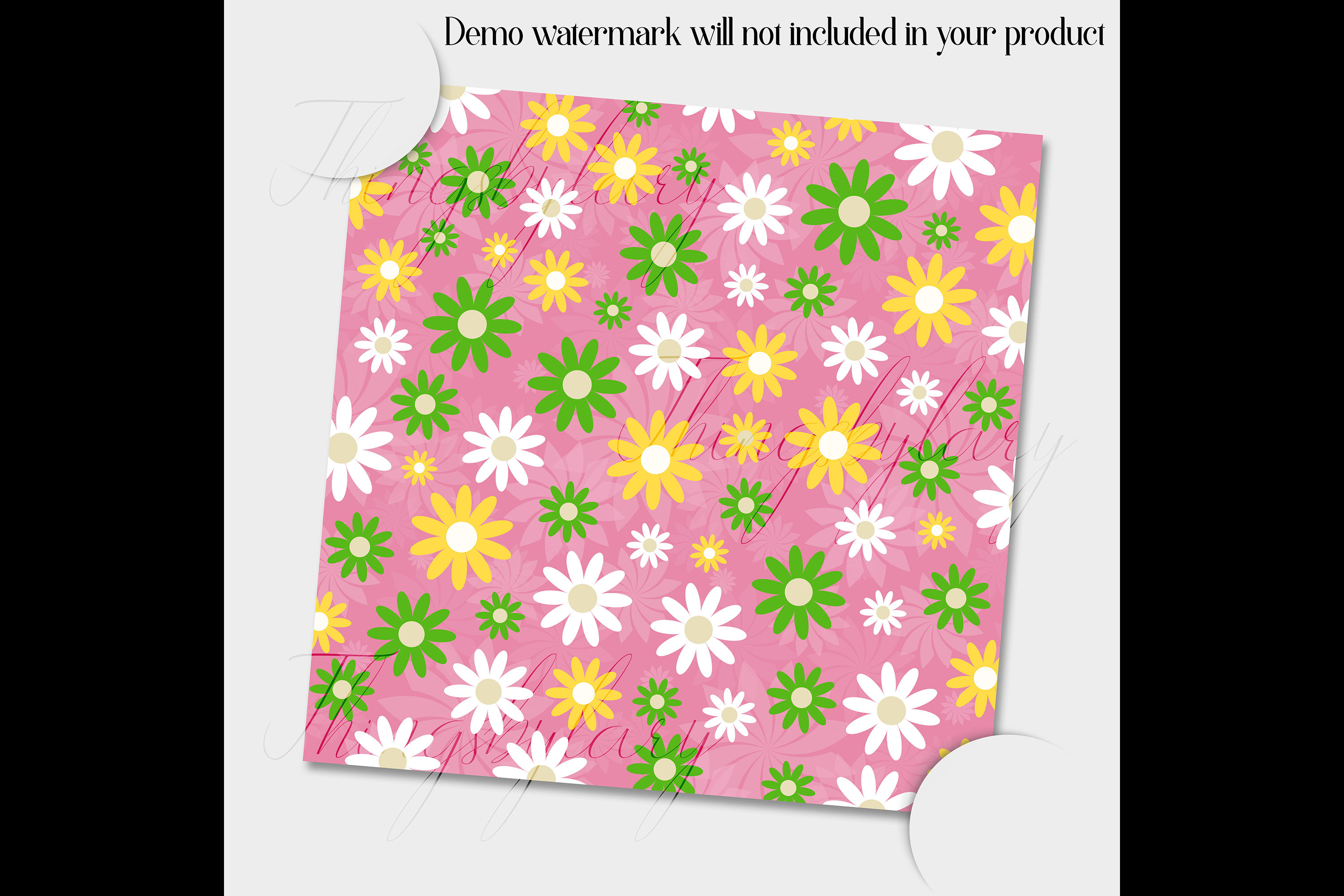 12 Daisy Flower Digital Papers In Pastel Theme Color