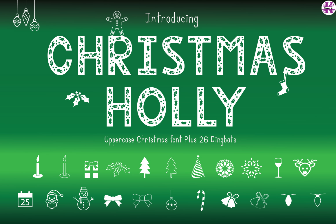 Christmas Holly - Font & Dingbats example image 1