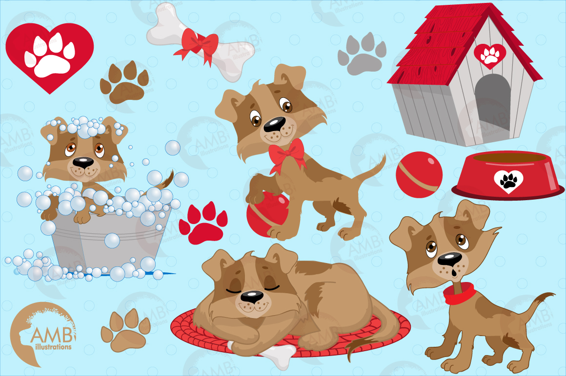 Day in a dog's life clipart, graphics, illustrations AMB-594 example image 3