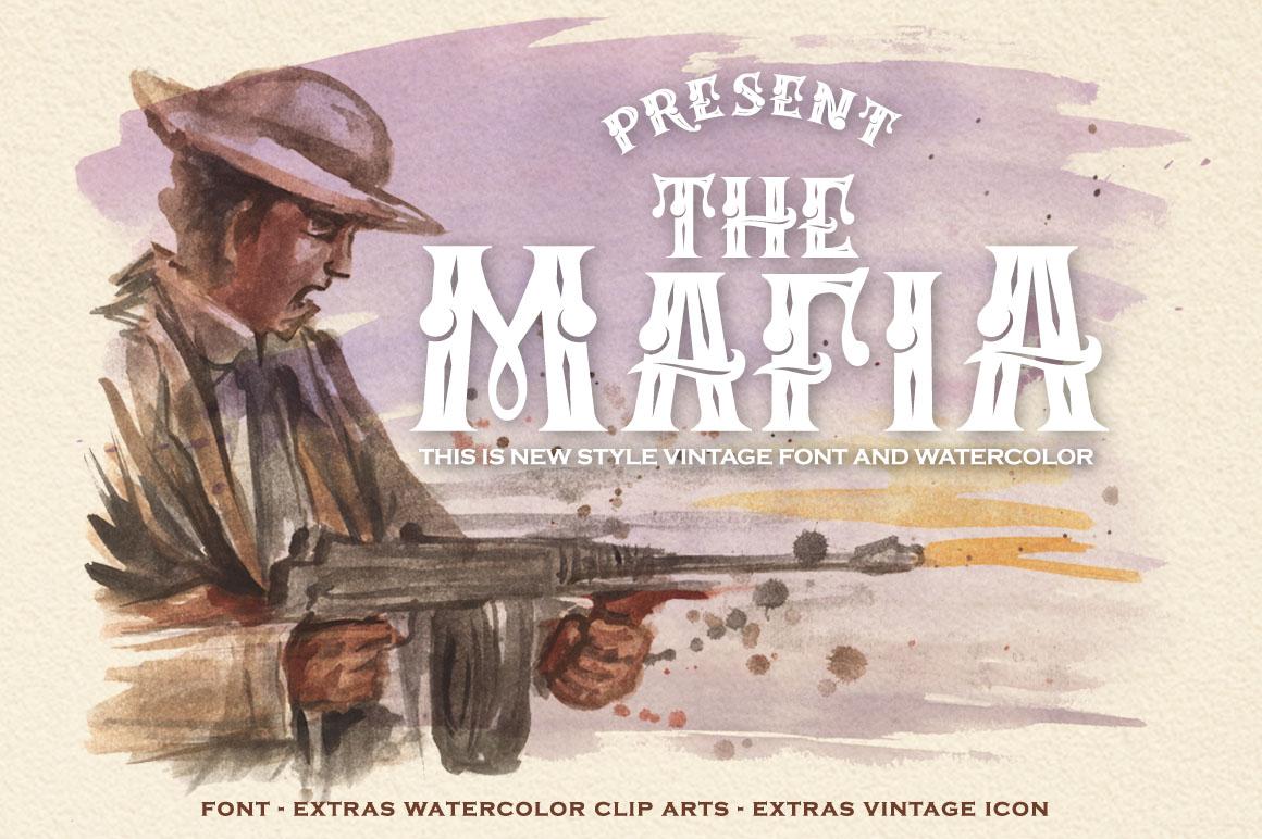 Mafia Font and Watercolor example image 1