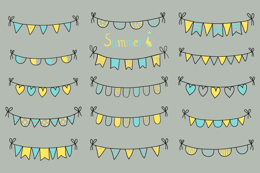 Cute hand drawn summer bunting clip art set, Birthday party bunting example image 5