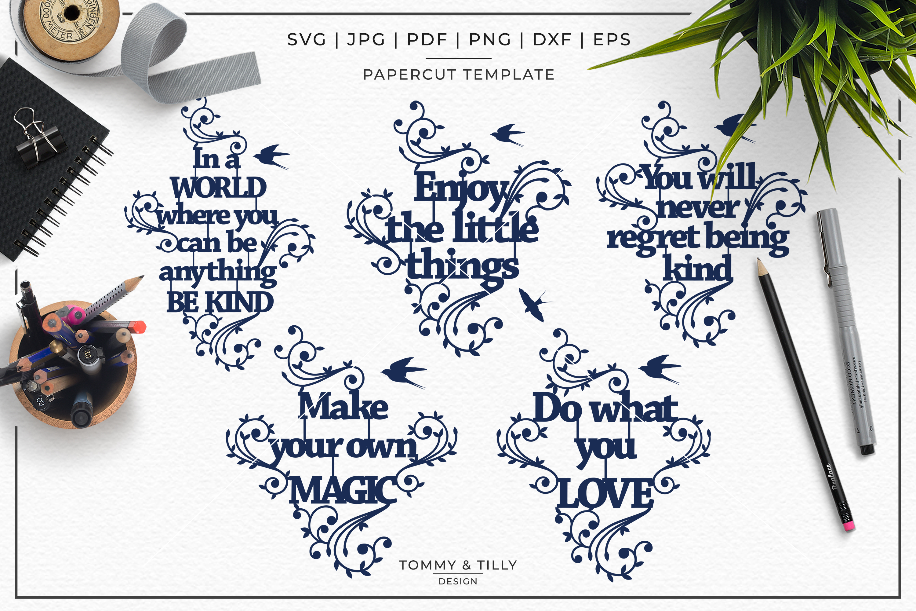 Inspirational Quotes Bundle - Papercut SVG DXF PNG JPG PD example image 3