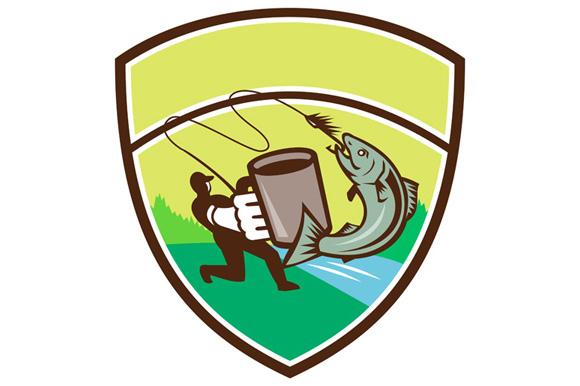 Fly Fisherman Mug Salmon Crest Retro example image 1