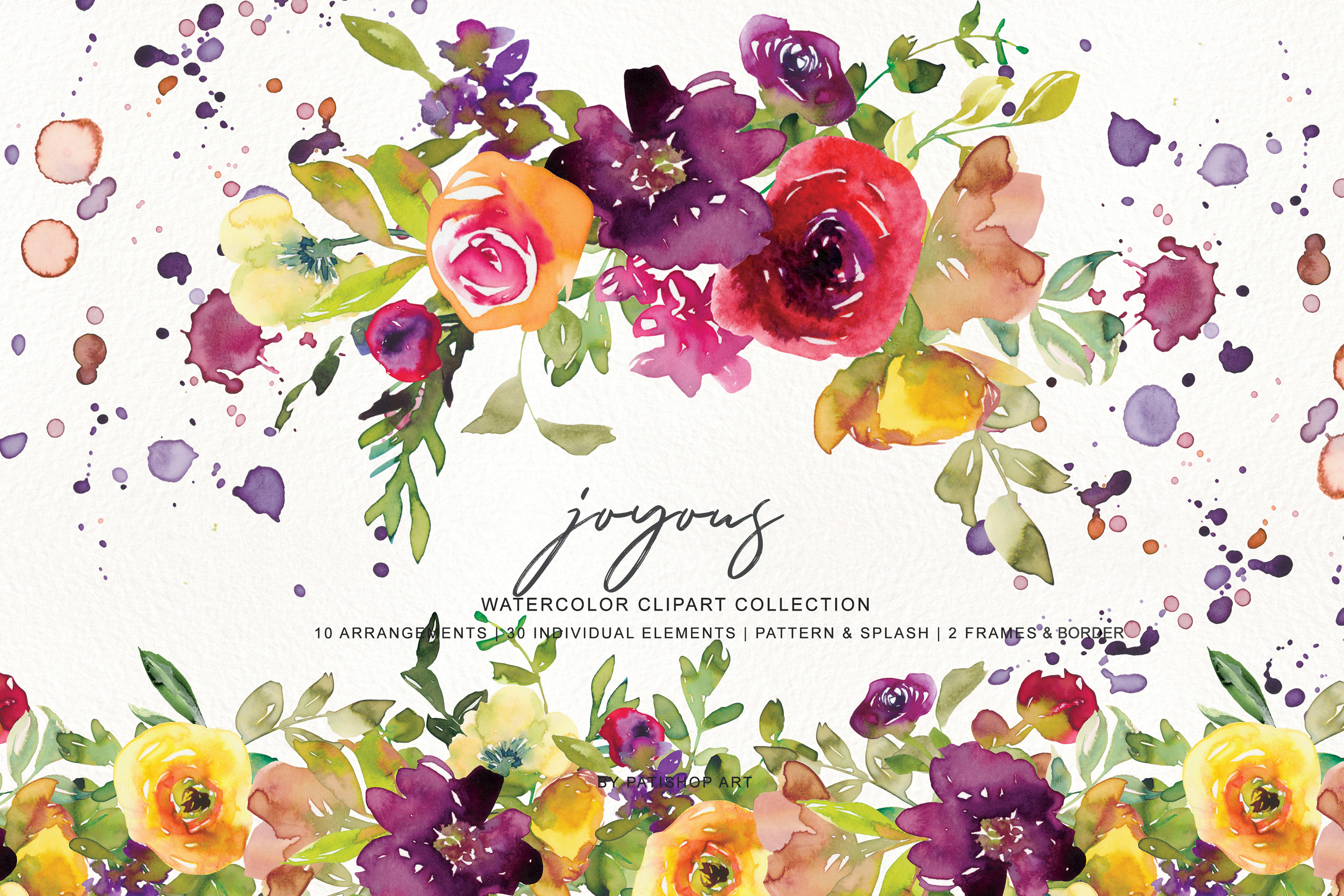 Watercolor Burgundy and Yellow Floral Bouquet Clipart example image 4