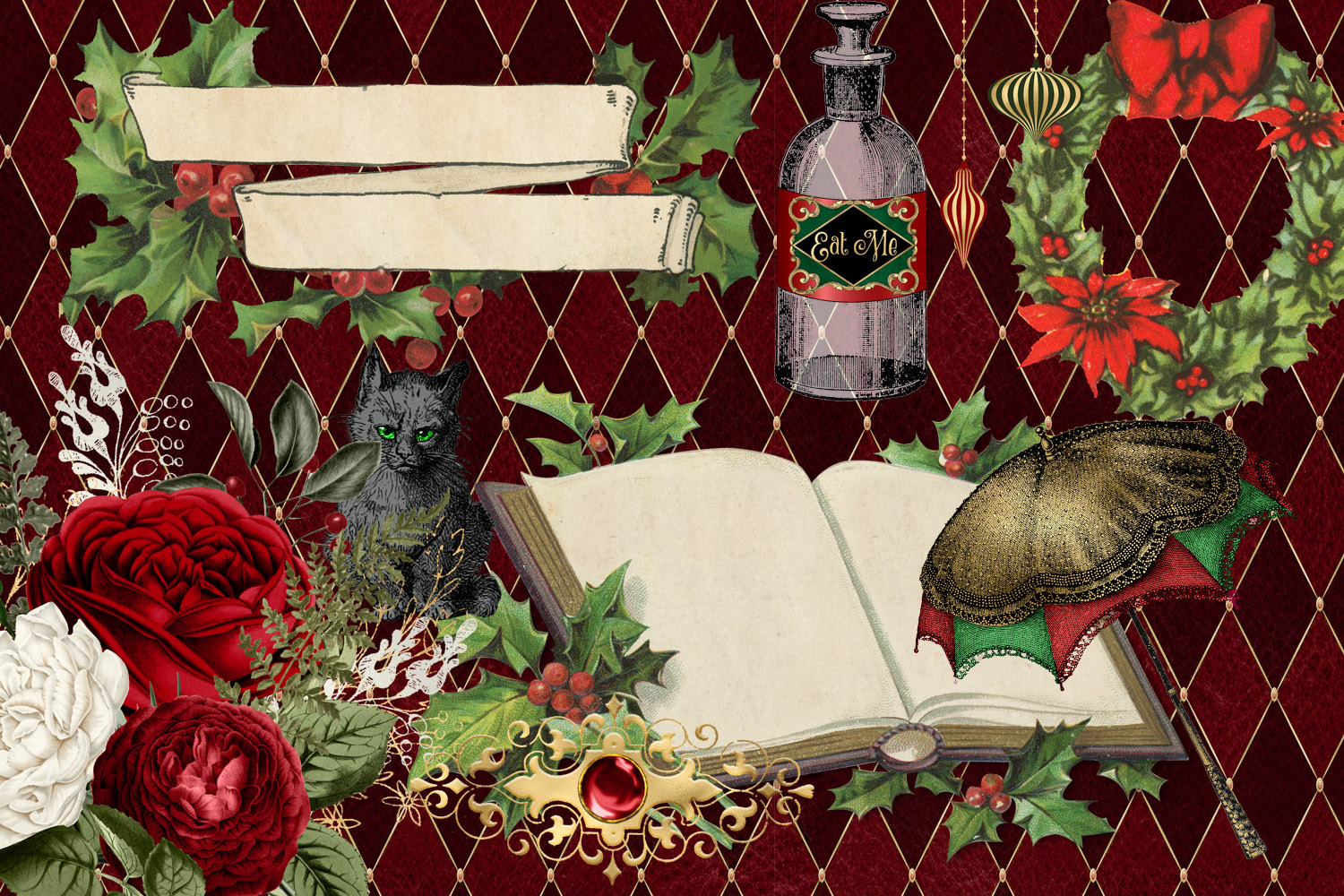 Christmas Alice In Wonderland Clipart example image 3