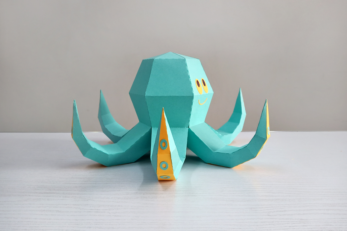 DIY Octopus Sculpture - 3d papercraft example image 2