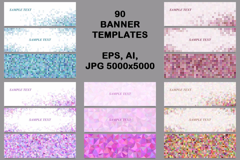 90 mosaic banner template designs (AI, EPS, JPG 5000x5000) example image 1