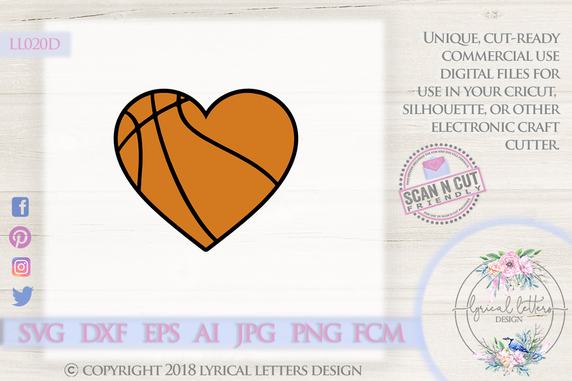 Basketball Heart SVG DXF Cut File LL020D example image 1