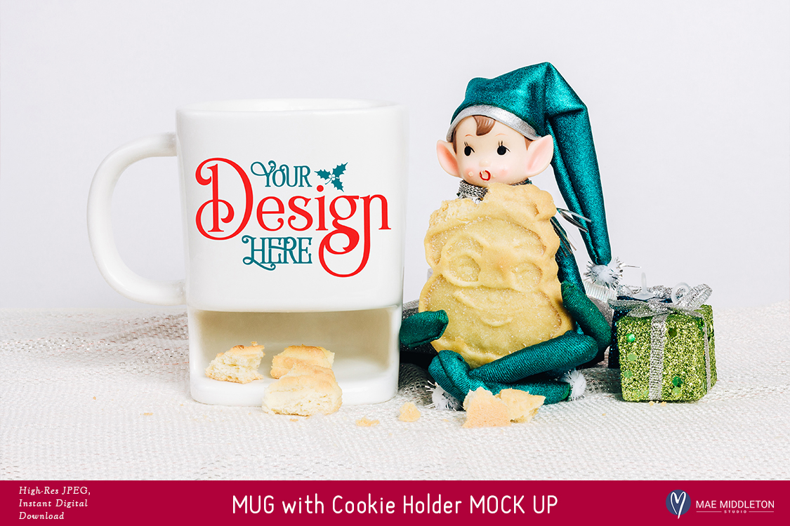 Christmas Mock Up - White Mug with Cookie Holder example image 2