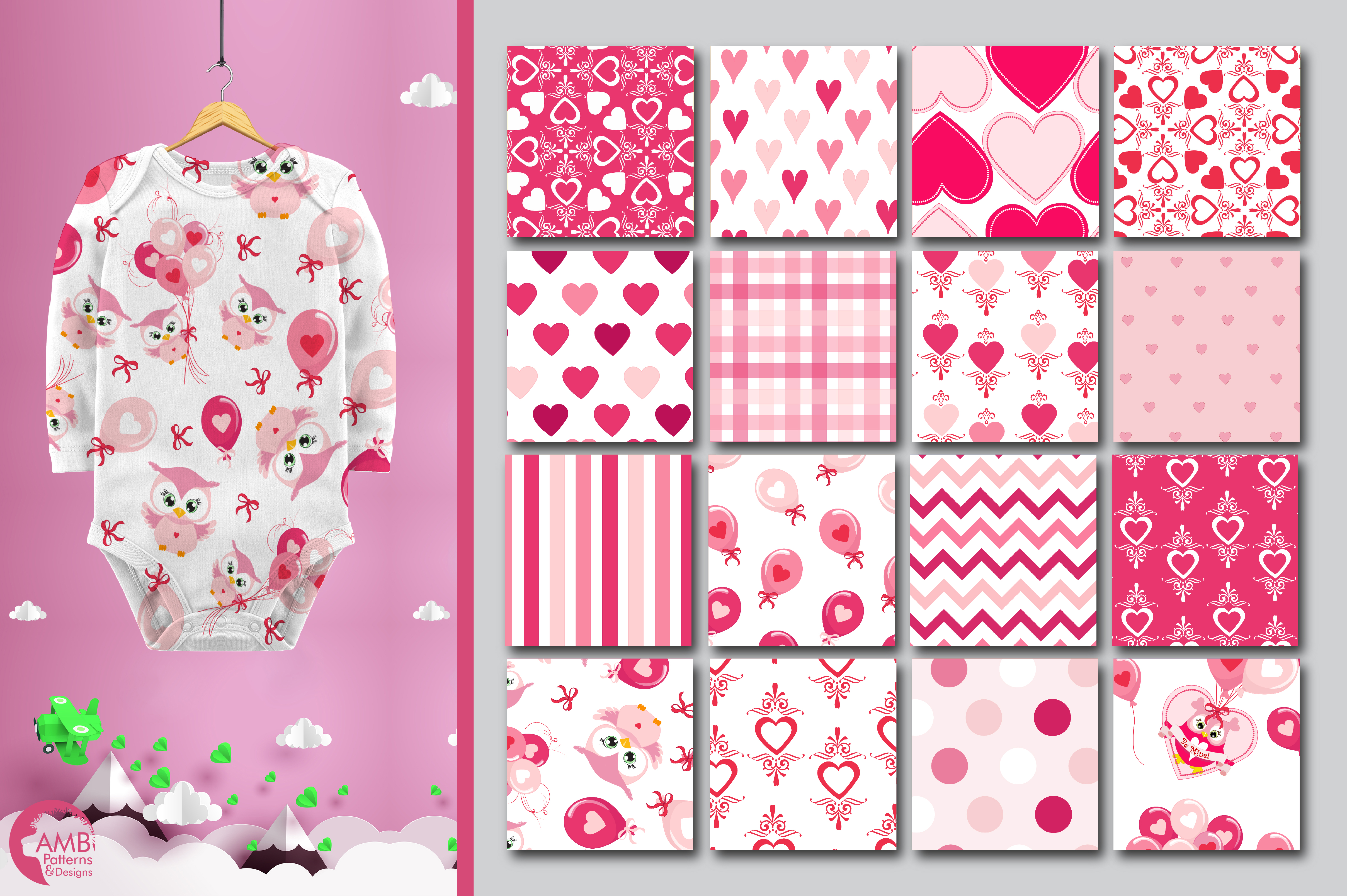 Be my Valentine pattern, papers, surface design AMB-1166 example image 2