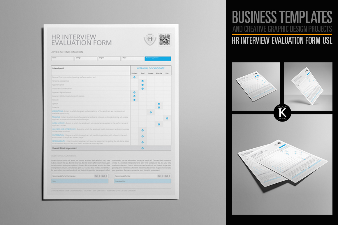 HR Interview Evaluation Form US Letter example image 1