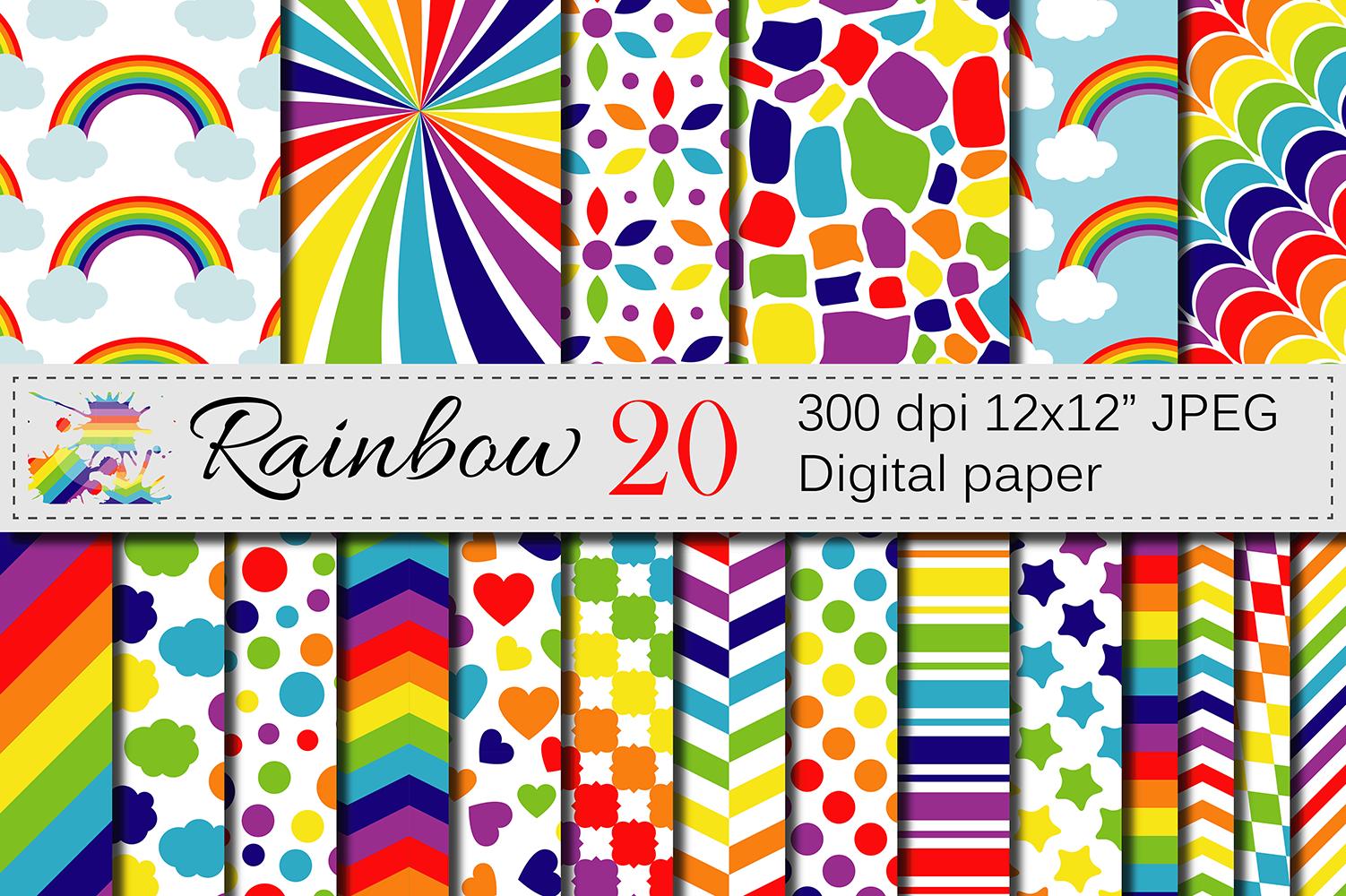 Rainbow Digital Paper Pack / Multicolored Scrapbooking ...