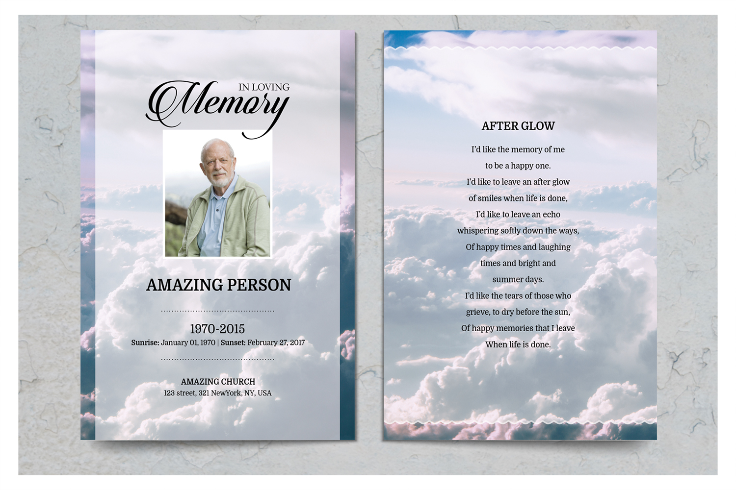 Sky Funeral Prayer Card Template example image 2