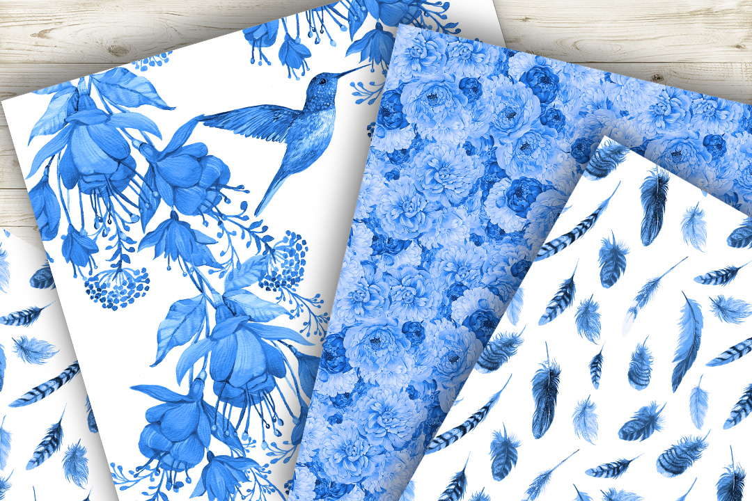 Feathers,Seamless patterns.Watercolor patterns . example image 5