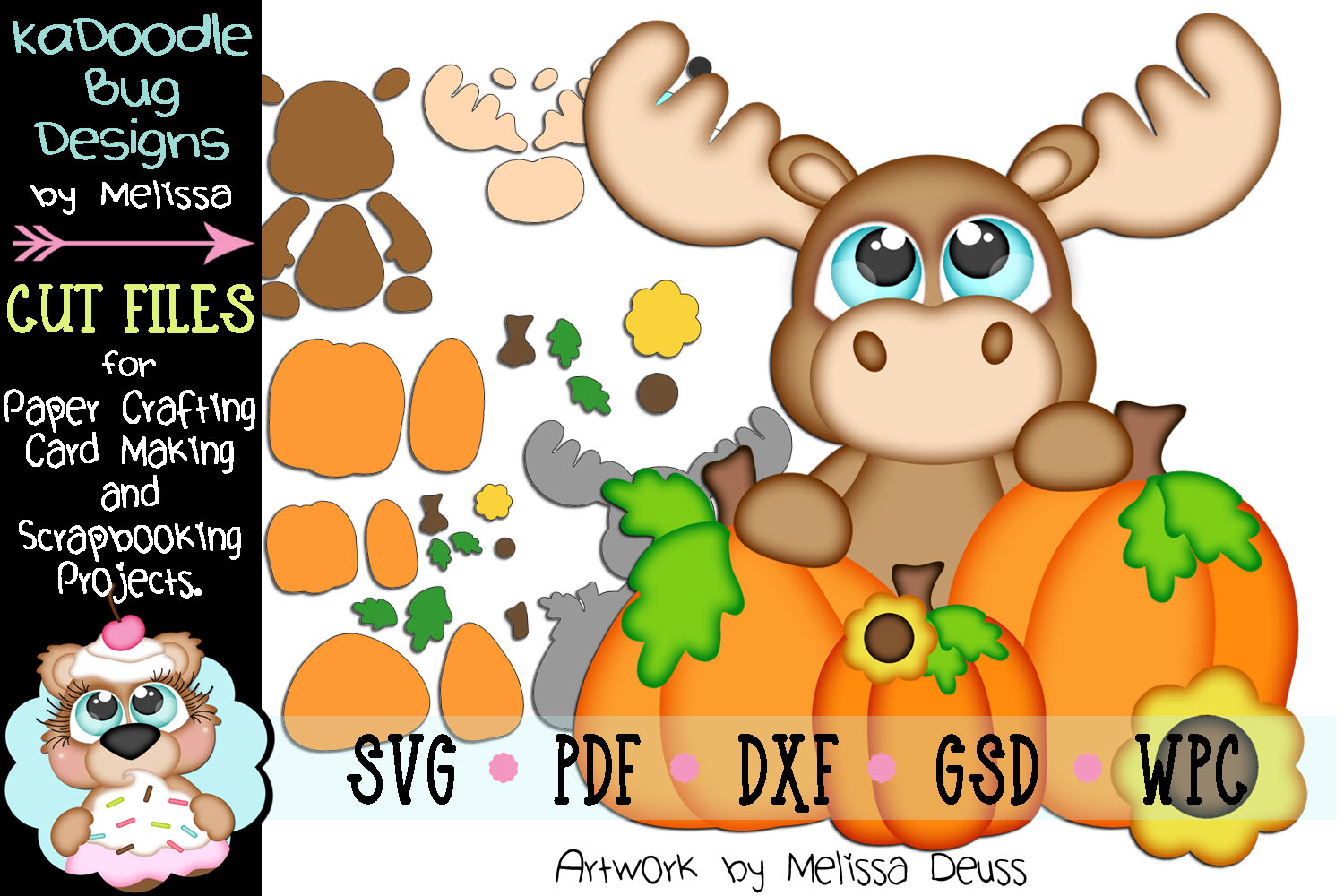 Fall Pumpkin Peeker Moose Cut File - SVG PDF DXF GSD WPC example image 1